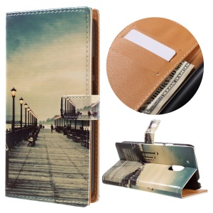 Pattern Printing Leather Protector Case for Motorola Moto G4 Play - Seaside Trestle
