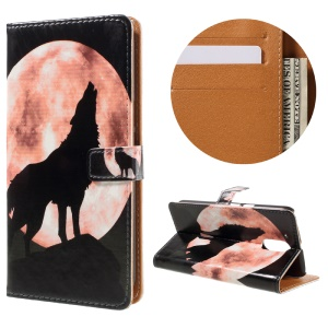 Stylish Pattern Leather Wallet Cover for Motorola Moto G4 / G4 Plus - Wolf and Moon