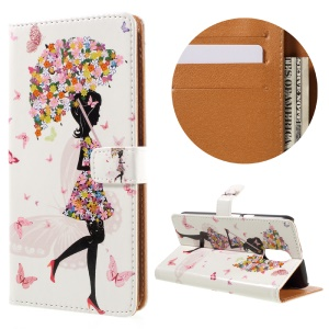 Stylish Pattern Leather Wallet Stand Cover for Motorola Moto G4 / G4 Plus - Girl with Flowered Umbrella