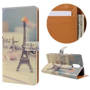 Stylish Pattern Leather Wallet Stand Case for Motorola Moto G4 / G4 Plus - Eiffel Tower