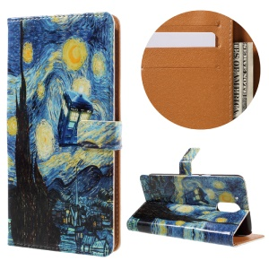 Stylish Pattern Leather Wallet Protective Case for Motorola Moto G4 / G4 Plus - Starry Sky