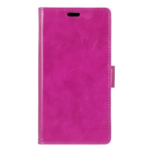 Crazy Horse Wallet Leather Stand Cover for Motorola Moto E3 - Purple