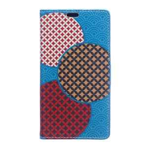 PU Leather Wallet Stand Case for Motorola Moto E3 - Circles Seamless Pattern