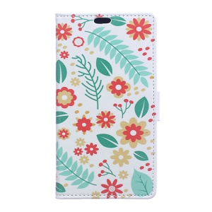 Leather Case Wallet Cover for Motorola Moto E3 - Cute Flowers and Leaves