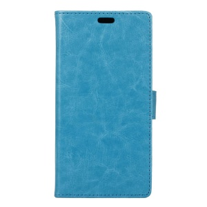 Crazy Horse Magnetic Leather Stand Case for Motorola Moto E3 - Blue
