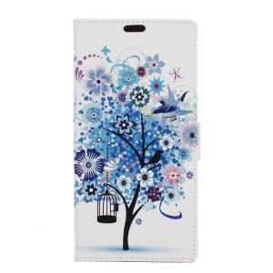 Card Holder Leather Case for Motorola Moto E3 - Blue Tree & Bird Cage