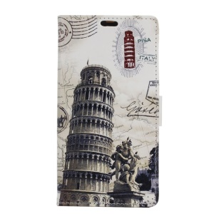 Leather Stand Phone Cover for Motorola Moto E3 - Leaning Tower of Pisa