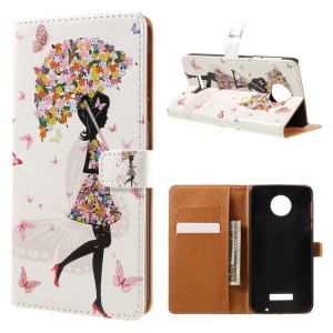 Patterned Leather Case Wallet Stand for Motorola Moto Z Force - Flowered Girl Butterflies