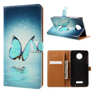 Patterned Wallet Leather Cover for Motorola Moto Z Force - Shiny Blue Butterfly