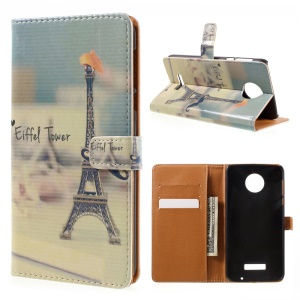 Patterned Leather Flip Cover for Motorola Moto Z Force - Eiffel Tower and Mustache