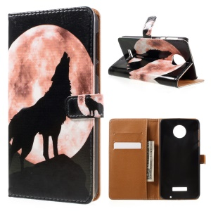 Patterned Stand Leather Case for Motorola Moto Z Force - Wolf Howling at the Moon