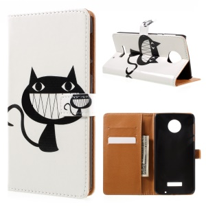 Patterned Leather Stand Card Slot Cover for Motorola Moto Z Force - Black Cat Smiling