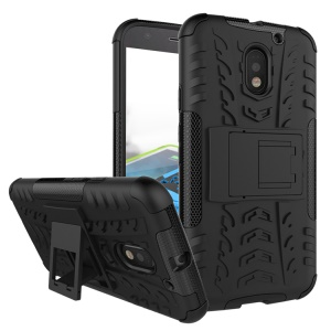 Anti-slip PC + TPU Hybrid Case with Kickstand for Motorola Moto E3 - Black