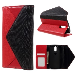 Envelope Style Wallet Leather Stand Case for Motorola Moto G4 Play - Black / Red