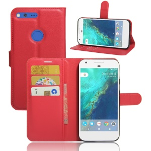 Litchi Skin Leather Wallet Case Cover for Google Pixel XL - Red