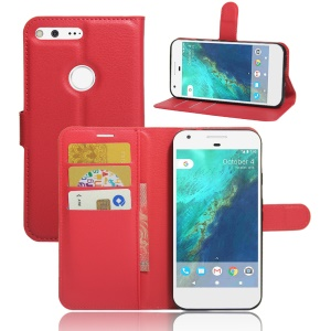 Lychee Skin Wallet Leather Magnetic Case for Google Pixel - Red