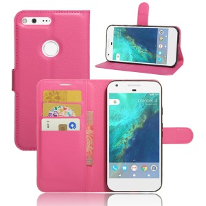 Lychee Skin PU Leather Stand Case for Google Pixel - Rose
