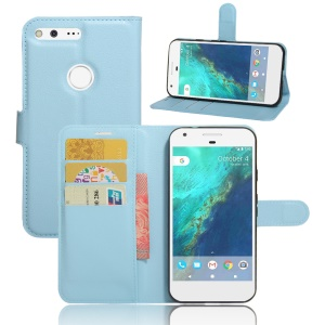 Lychee Skin Leather Stand Case with Card Slots for Google Pixel - Blue