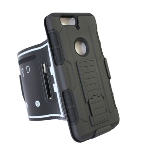 For Huawei Nexus 6P 3-in-1 Shock-proof ArmBand PC + Silicone Case with Kickstand