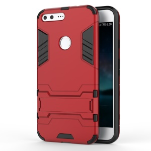 Kickstand PC TPU Combo Case Hybrid Cover for Google Pixel XL - Red