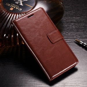 Crazy Horse Supporting Stand Leather Wallet Case for Google Pixel - Brown