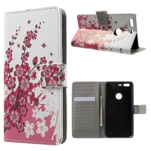 Wallet Leather Stand Case for Google Pixel - Plum Blossom
