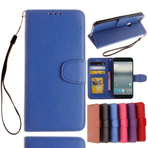 Litchi Skin Wallet Leather Stand Cover for Google Pixel - Blue