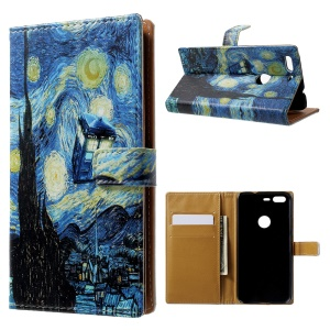 Pattern Printing Leather Wallet Case for Google Pixel - Starry Night