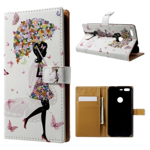 Pattern Printing Leather Wallet Case for Google Pixel - Flowered Girl and Butterflies
