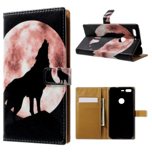 Pattern Printing Leather Wallet Case for Google Pixel - Wolf Howling at the Moon