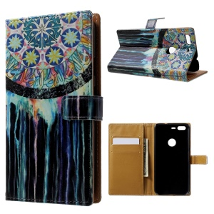 Pattern Printing Leather Wallet Case for Google Pixel - Tribal Dreamcatcher