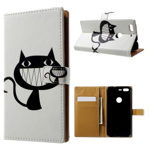 Pattern Printing Leather Wallet Case for Google Pixel - Big Mouth Cat