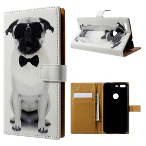 Pattern Printing Leather Wallet Case for Google Pixel - Cool Dog in Glasses