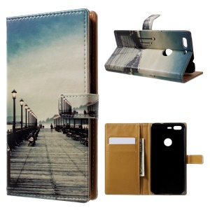 Pattern Printing Leather Wallet Case for Google Pixel - Street Light