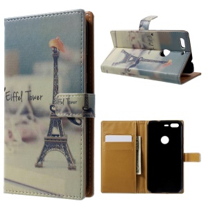 Pattern Printing Leather Wallet Case for Google Pixel - Eiffel Tower
