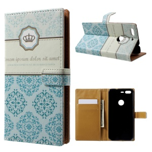 Pattern Printing Leather Wallet Case for Google Pixel - Damask Flower