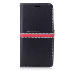 Graceful Series Stitching Leather Wallet Cover with Hand Strap for Google Pixel - Black