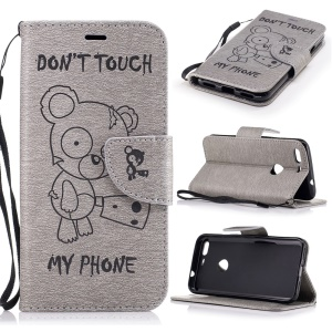 Imprinted Bear Leather Wallet Phone Case with Lanyard for Google Pixel XL - Grey