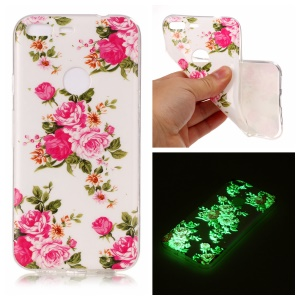 Noctilucent Luminous IMD TPU Mobile Case for Google Pixel XL - Blooming Peonies