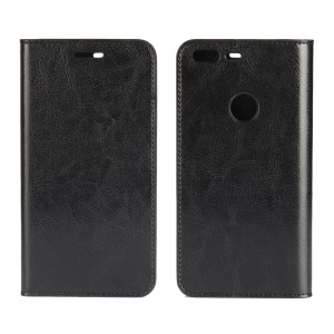 Crazy Horse Genuine Leather Stand Wallet Case for Google Pixel XL - Black