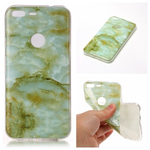 Marble Pattern IMD TPU Cellphone Case for Google Pixel XL - Light Green