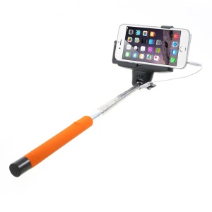 Orange KJSTAR 3.5mm Audio Cable Handheld Extendable Monopod for iPhone Samsung HTC Sony etc (Z07-7)