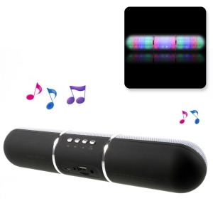 JHW-V318 Stereo Bluetooth Speaker with Colorful LED Support TF Card / Aux-input / FM - Black