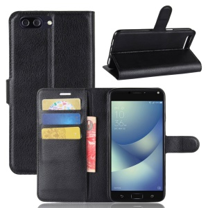 Litchi Skin PU Leather Wallet Stand Phone Shell for Asus Zenfone 4 Max /4 Max Pro /4 Max Plus ZC554KL - Black