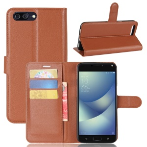 Litchi Skin PU Leather Wallet Stand Mobile Phone Casing for Asus Zenfone 4 Max /4 Max Pro /4 Max Plus ZC554KL - Brown