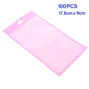 100Pcs Plastic Zip Top Pink Package Bags - Pink