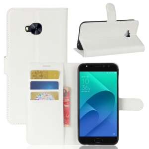 Litchi Skin Wallet Leather Stand Cover for Asus Zenfone 4 Selfie Pro ZD552KL - White