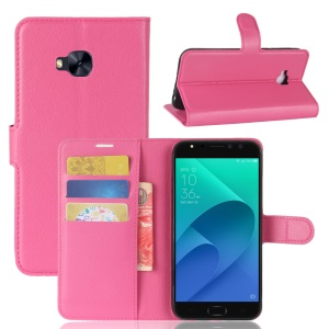 Litchi Skin Wallet Leather Cover Case for Asus Zenfone 4 Selfie Pro ZD552KL - Rose Gold