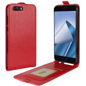 Crazy Horse Crazy Horse Vertical Leather Phone Case for Asus ZenFone 4 (ZE554KL) - Red