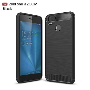 Carbon Fiber Texture Brushed TPU Mobile Phone Case for Asus ZenFone 3 Zoom ZE553KL - Black